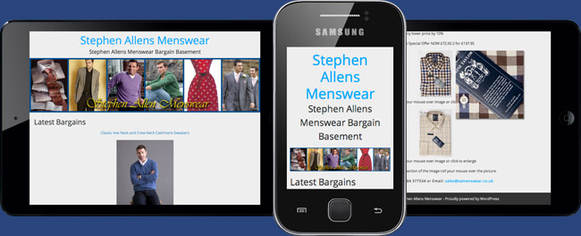 Stephen Allens Menswear Responsive E-commerce Sites on tablet and smartphone