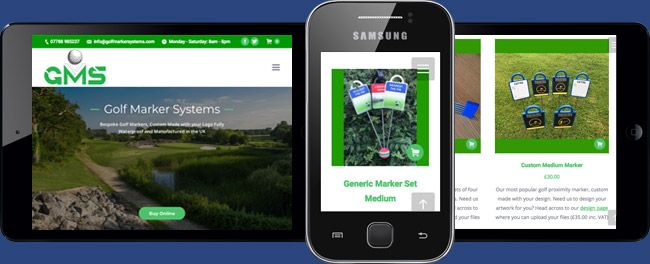 E-commerce section for Golf Marker Systems