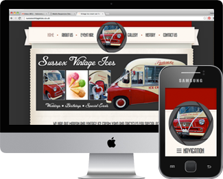 Mobile responsive website for Sussex Vintage Ices